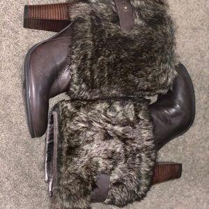 Nine West Brown Fur Ankle Booties